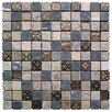 "Intrend Tile Natural Splendor 1"" x 1"" Stone / Glass Square Mosaic Tile in 4 Color Blend"