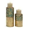 Bungalow Rose 2 Piece Metal Mosaic Candle Holder Set