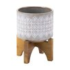 Berkey Wooden Base Ceramic Pot Planter - Size: 7 inch High x 5.5 inch Wide x 5.5 inch Deep - Langley Street Planters
