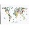 Viv + Rae Animal Map of the World by Michael Thompsett Graphic Art on Canvas