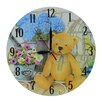 Obique Wanduhr Teddy Bear and Flowers 28 cm