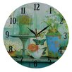 Obique Flowers and Butterflies 34cm Wall Clock