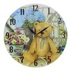 Obique Teddy Bear and Flowers 34cm Wall Clock
