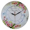 Obique Pink Roses and Butterfly 34cm Wall Clock