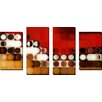 """Picture Perfect International """"Circles and Squares #17"""" by Mark Lawrence 4 Piece Graphic Art on Wrapped Canvas Set"""