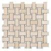 Seven Seas Crema Marfil Basket Weave Mosaic Polished with Bianco Carrara dot