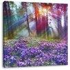 Pixxprint Leinwandbild Lavendel im Wald