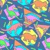 Monde Mosaic Nineties Dinosaur Pattern 1. by Chobopop Framed Graphic Art