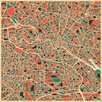 Monde Mosaic Berlin, Germany Map by Jazzberry Blue Framed Graphic Art