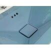 Ronbow Ceramic Vessel - Square tapered semi-recessed w/overflow-Medium Blue