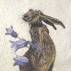 """AnnabelLangrish Schild """"Hare with Harebell"""" von Annabel Langrish, Kunstdruck"""