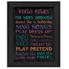 Trendy Decor 4U 'Girl's Rules' by Debbie DeWitt Framed Textual Art