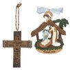 Lighthouse Christian Products 2 Piece Cross and Manger Ornaments Set