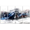 Design Art Speedster Car 4 Piece Graphic Art on Wrapped Canvas Set in Black