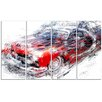 Design Art American Burn Out Car 4 Piece Graphic Art on Wrapped Canvas Set