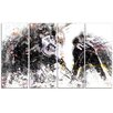 Design Art Hockey Face Off 4 Piece Graphic Art on Wrapped Canvas Set