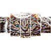 Design Art Cat Nap 5 Piece Graphic Art on Wrapped Canvas Set