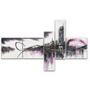 Design Art Modern Purple Cityscape 5 Piece Painting Print on Wrapped Canvas Set