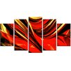 Design Art Red Lava Ribbons 5 Piece Graphic Art on Wrapped Canvas Set