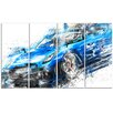Design Art Burning Rubber Blue Super Car 4 Piece Graphic Art on Wrapped Canvas Set