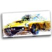 Design Art Yellow Classic Car Graphic Art on Wrapped Canvas
