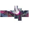 Design Art Pink Modern World 5 Piece Graphic Art on Wrapped Canvas Set