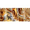 Design Art Gold/Silver Ribbons 5 Piece Graphic Art on Wrapped Canvas Set
