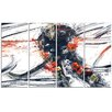 Design Art Hockey In Motion 4 Piece Graphic Art on Wrapped Canvas Set