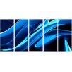 Design Art Liquid Blue 5 Piece Graphic Art on Wrapped Canvas Set