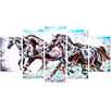 Design Art Stampede 5 Piece Graphic Art on Wrapped Canvas Set
