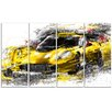 Design Art Black and Yellow Speedster 4 Piece Graphic Art on Wrapped Canvas Set
