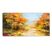 Design Art Path in Autumn Forest Landscape Painting Print on Wrapped Canvas