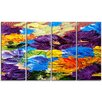 Design Art Heavily Textured Abstract Flowers 4 Piece Painting Print on Wrapped Canvas Set