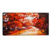 Design Art Forest in the Fall Landscape Painting Print on Wrapped Canvas