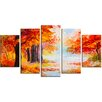 Design Art 'Orange Forest in Autumn' 5 Piece Wall Art on Wrapped Canvas Set