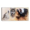 Design Art Indian Warrior with Two Wolves Animal Graphic Art on Wrapped Canvas