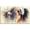 Design Art Indian Woman and Eagle Portrait 4 Piece Graphic Art on Wrapped Canvas Set