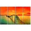 Design Art Fabulous Sunset Panorama Seascape 4 Piece Photographic Print on Wrapped Canvas Set