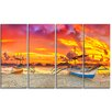 Design Art Boat at Sunset Panorama Landscape 4 Piece Photographic Print on Wrapped Canvas Set
