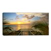 Design Art Sunset Sea View from Terrace Photographic Print on Wrapped Canvas
