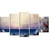 Design Art 'Lighthouse Sea Panoramic' 5 Piece Wall Art on Wrapped Canvas Set