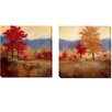 Artistic Home Gallery 'Fall Splendor' by Karen Margulis 2 Piece Painting Print on Wrapped Canvas Set