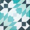 "Rustico Tile & Stone Casablanca Encaustic 8"" x 8"" Cement Field Tile in Black/Turquoise (Set of 6)"