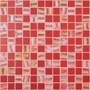 "Kellani Moon Blends 12.375"" W x 12.375"" L Eco Glass Mosaic in Red Velvet"