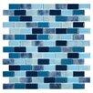 "Kellani Tides Ultramarine 0.75"" x 1.63"" Glass Mosaic Tile in Blue"