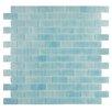 """Kellani Quartz 0.75"""" x 1.63"""" Glass Mosaic Tile in Light Blue"""