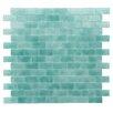 "Kellani Quartz 0.75"" x 1.63"" Glass Mosaic Tile in Aqua/ Green"
