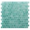 "Kellani Quartz 0.75"" x 0.75"" Glass Mosaic Tile in Aqua/ Green"