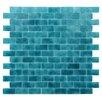 """Kellani Quartz 0.75"""" x 1.63"""" Glass Mosaic Tile in Turquoise/Blue"""