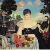 Magnolia Box The Merchant's Wife at Tea 1918 by Boris Mihajlovic Kustodiev Art Print on Canvas